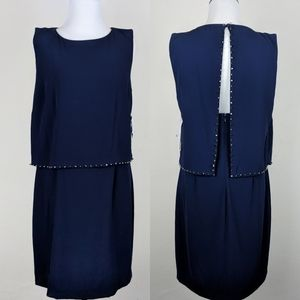 Laundry Shelli Segal Navy Blue Tiered Slit Dress